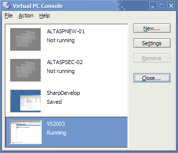 Okno Virtual PC