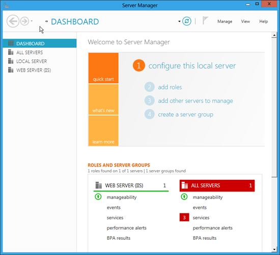 Server Manager ve Windows 8