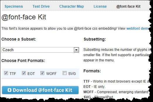 Doporučené nastavení Font Squirrel @font-face kitu