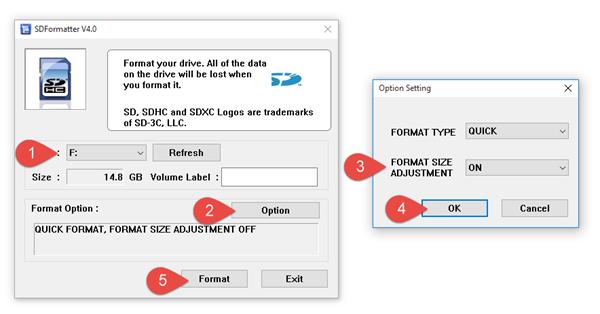 Formátování SD karty