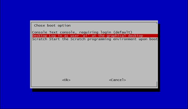 Utilita raspi-config: nastavení režimu bootu