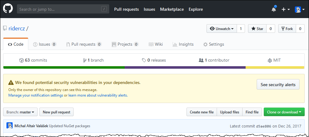 Screenshot notifikace na GitHubu