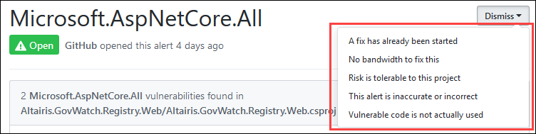 Screenshot zrušení alertu