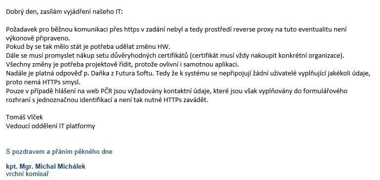 Odpověď PČR