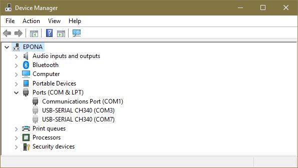 Nepřipojené COM porty v Device Manageru