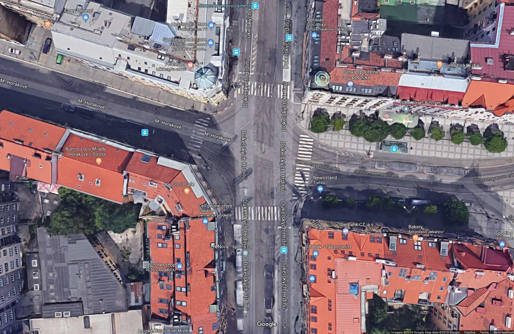 Strossmayerovo náměstí na Google Maps