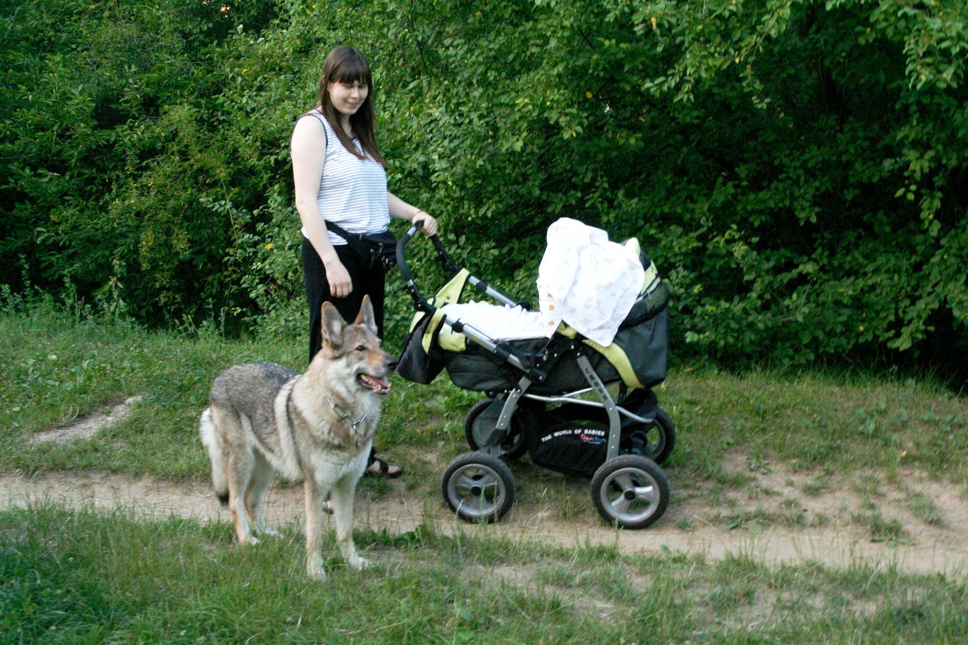 U kočárku s Alex, červenec 2011