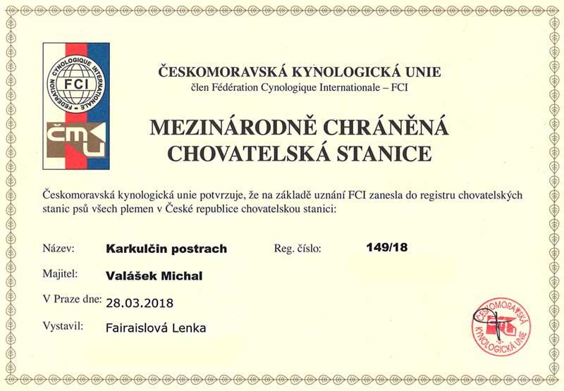 Registrace chovatelské stanice Karkulčin postrach