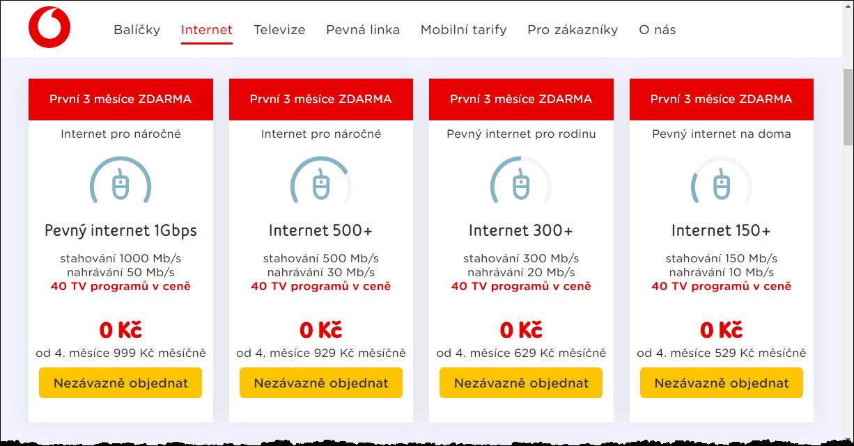Nabídka připojení přes kabelovku Vodafone