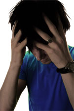 Fotografie zoufalého člověka